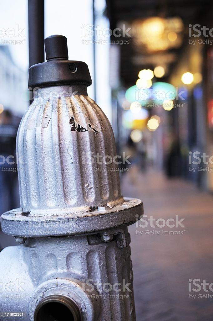 Silver Fire Hydrant, Bourbon Street, New Orleans royalty-free stock photo