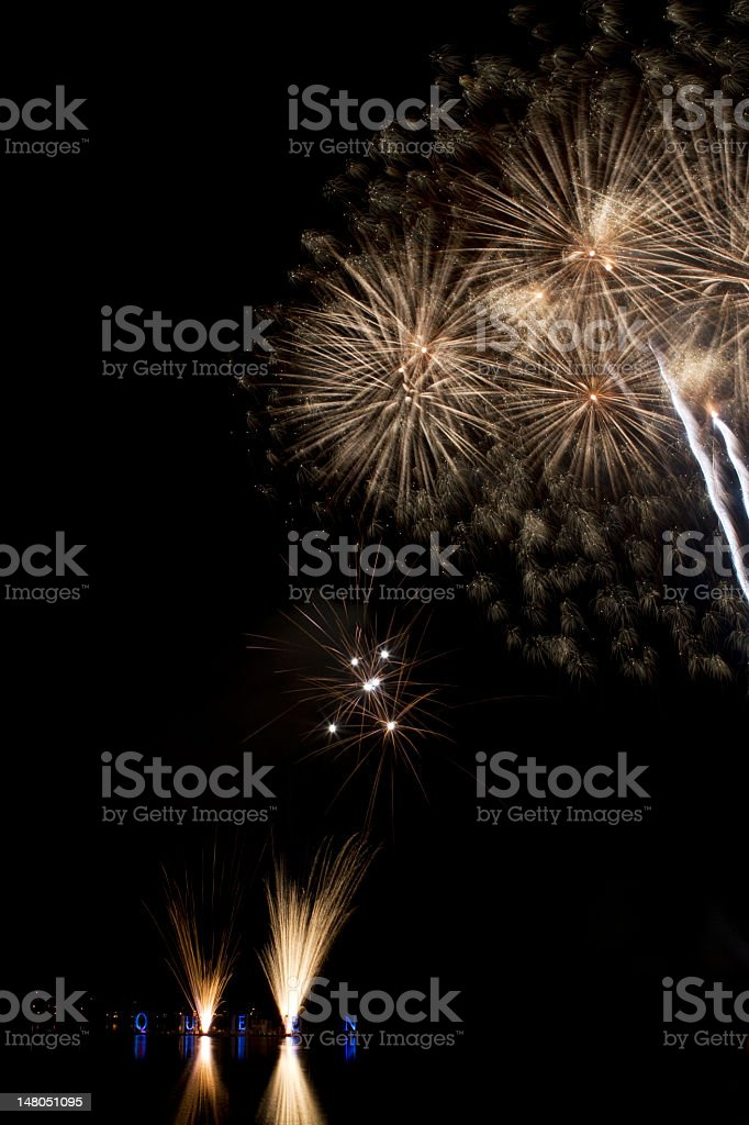 Silver fireworks on a lake royalty-free stock photo