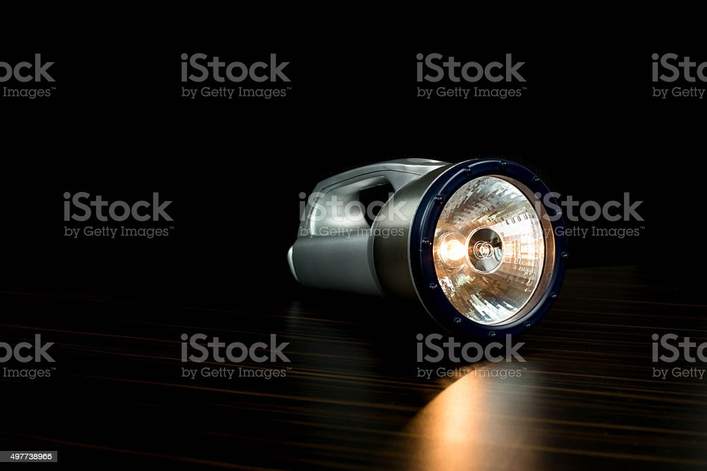 Silver Flashlight isolated stock photo