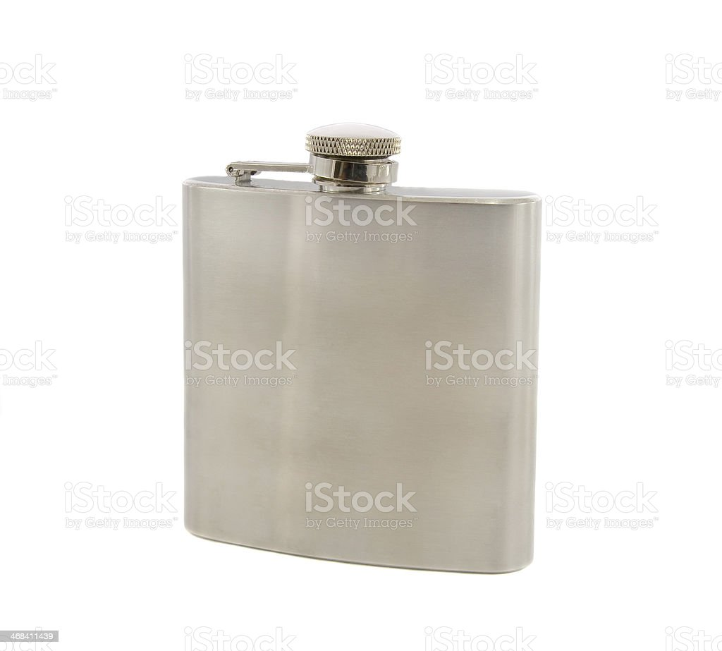 Silver flask of brandy isolated over a white background royalty-free stock photo