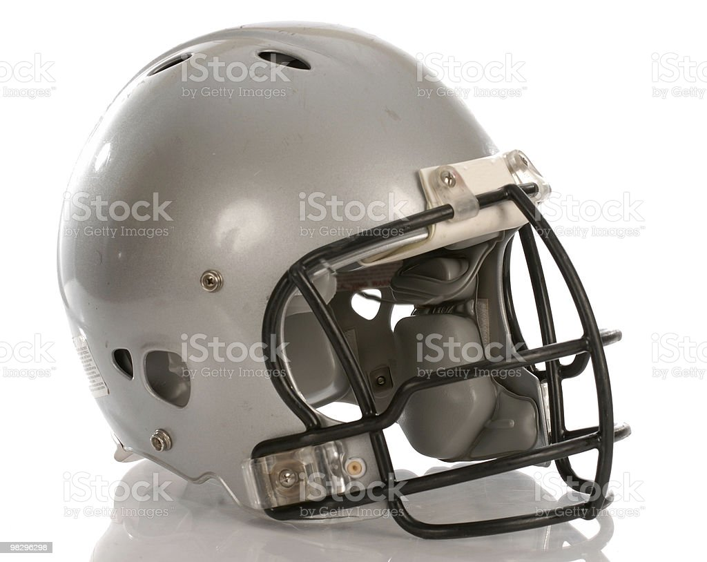 silver football helmet isolated stock photo
