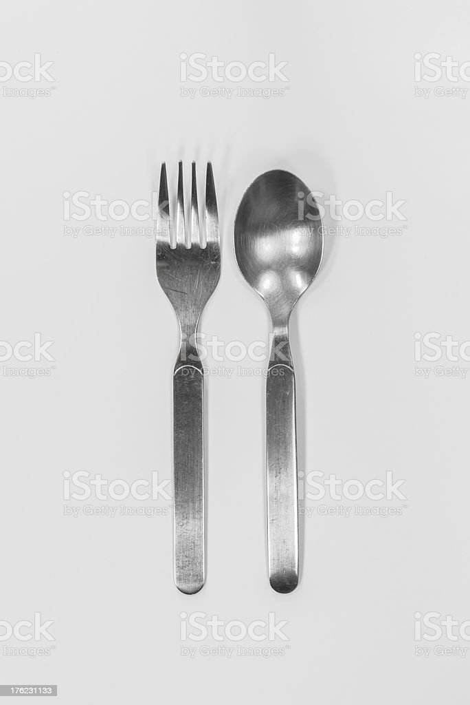 silver fork and spoon royalty-free stock photo