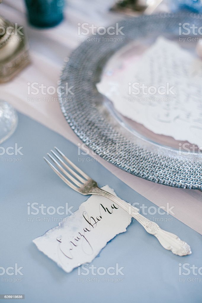 Silver fork as element of table wedding decorations. stock photo