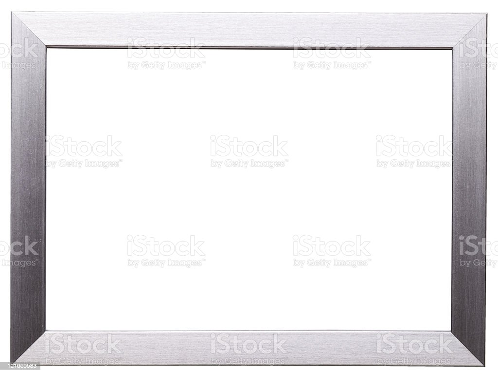 Silver frame isolated on white stock photo