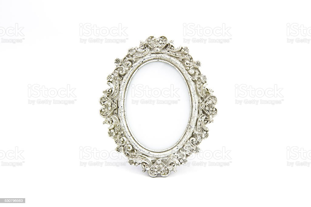 Silver frame oval antique stock photo