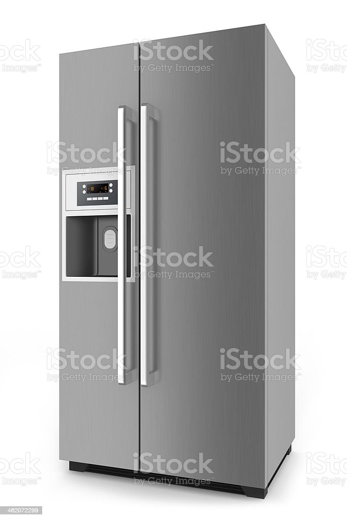 Silver fridge with side-by-side door system stock photo