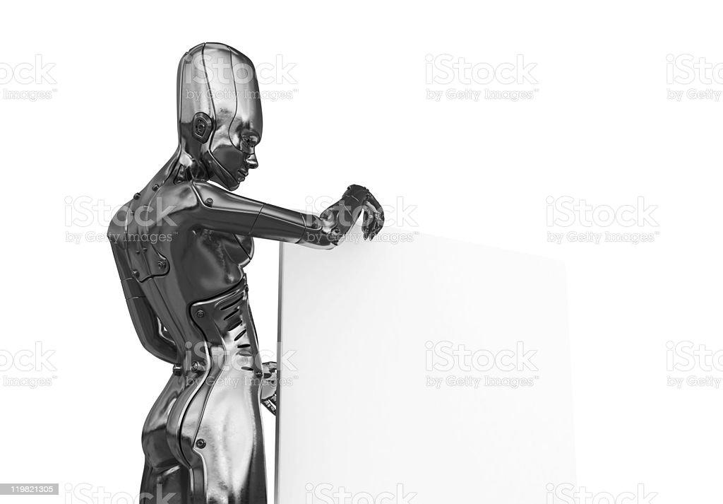 Silver futuristic woman with big board royalty-free stock photo