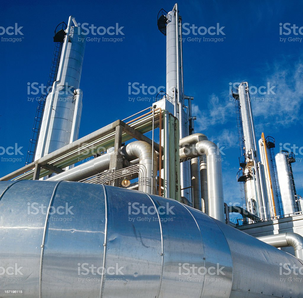 Silver Gas Towers 2 royalty-free stock photo