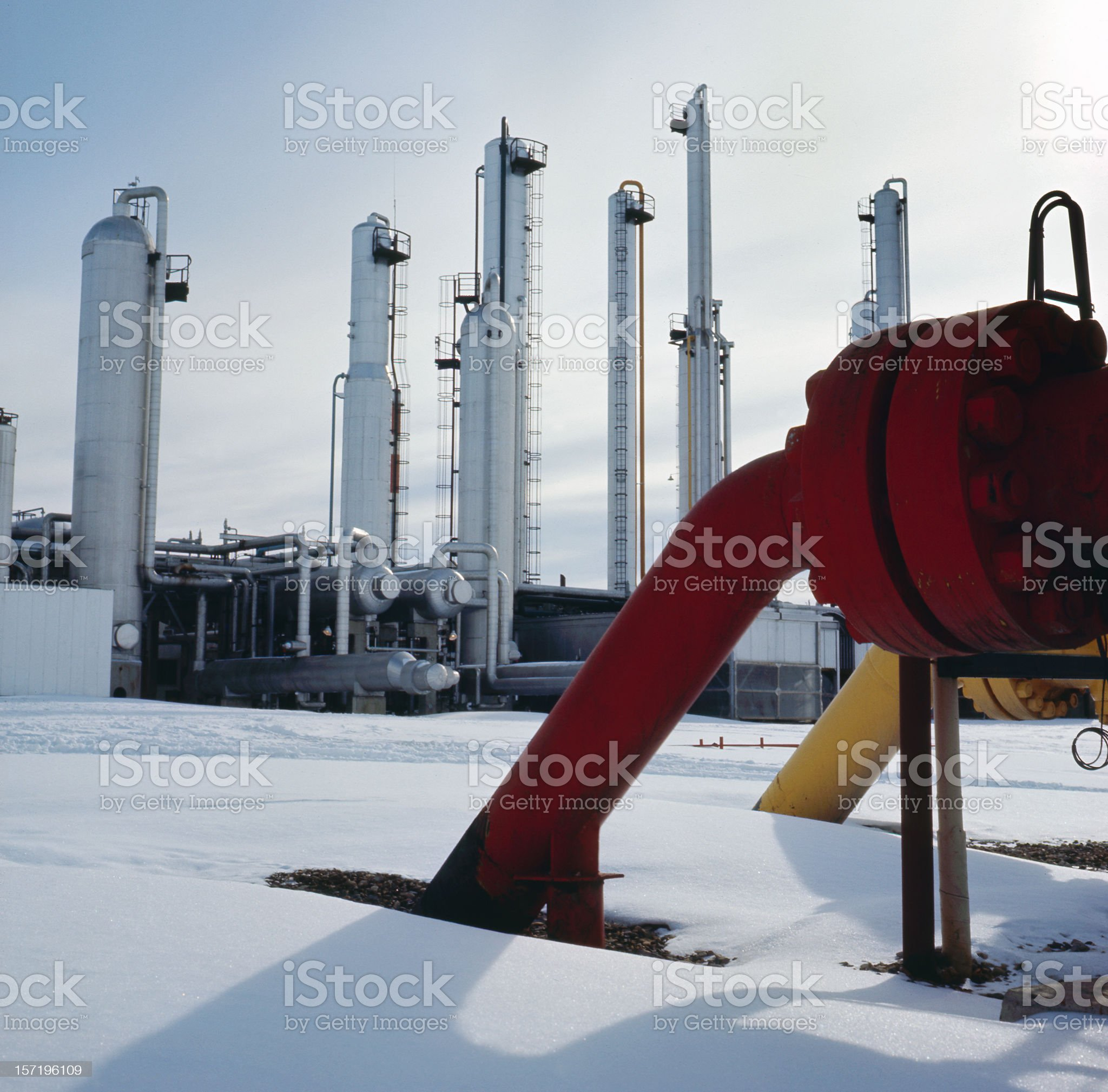 Silver Gas Towers royalty-free stock photo