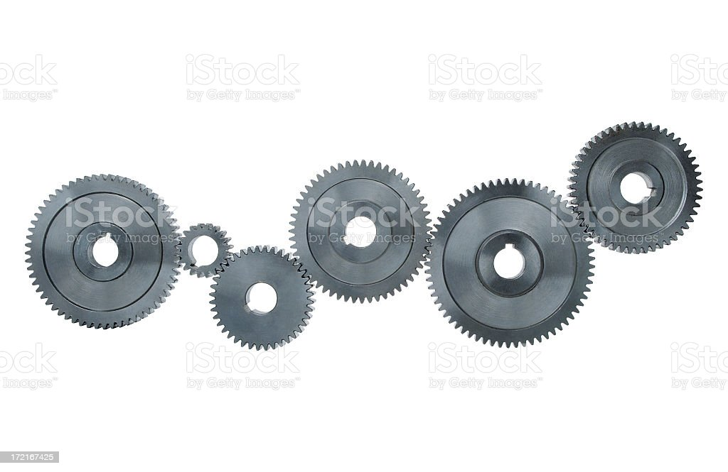 Silver gear mechanism workflow royalty-free stock photo