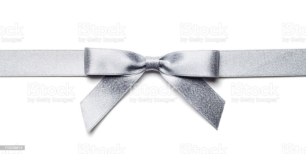 Silver Gift Bow and Ribbon Isolated with Clipping Path stock photo