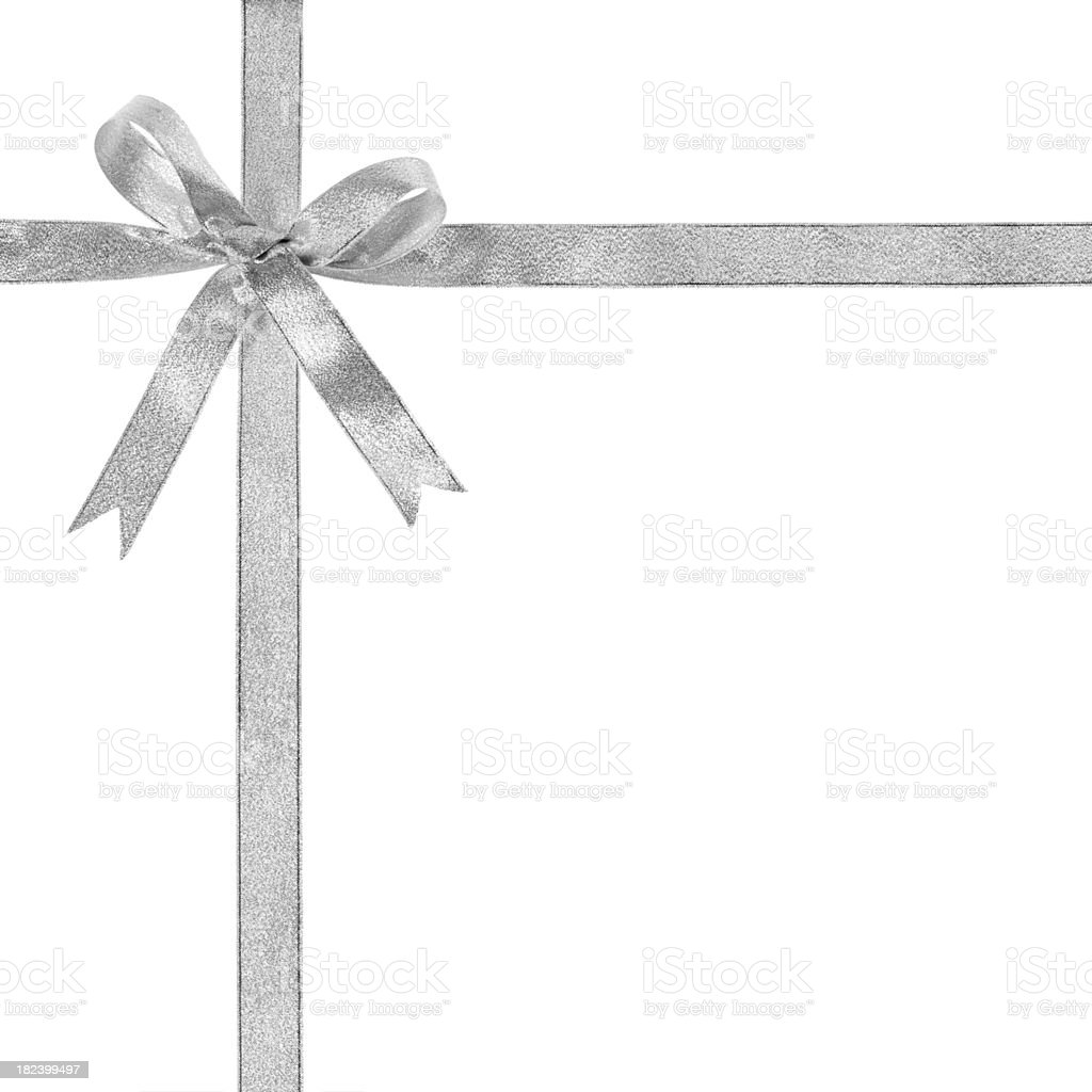 Silver gift bow royalty-free stock photo