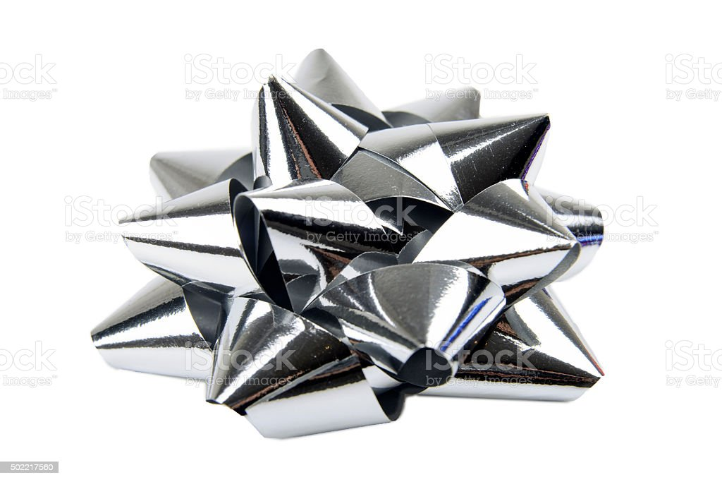 Silver Gift Bow stock photo