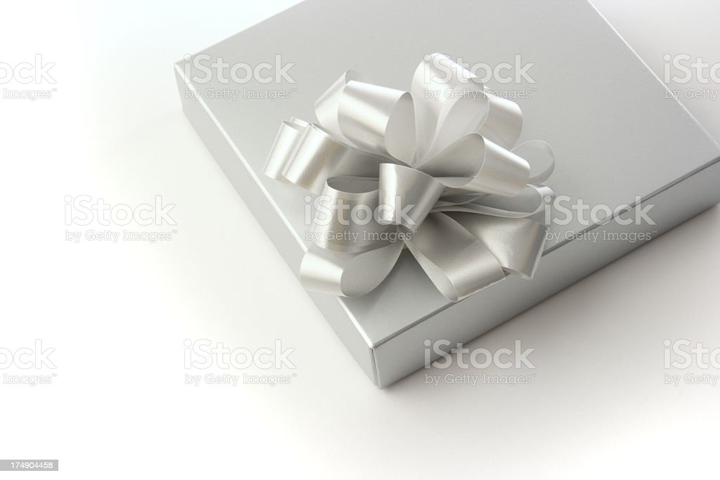 Silver Gift Box royalty-free stock photo