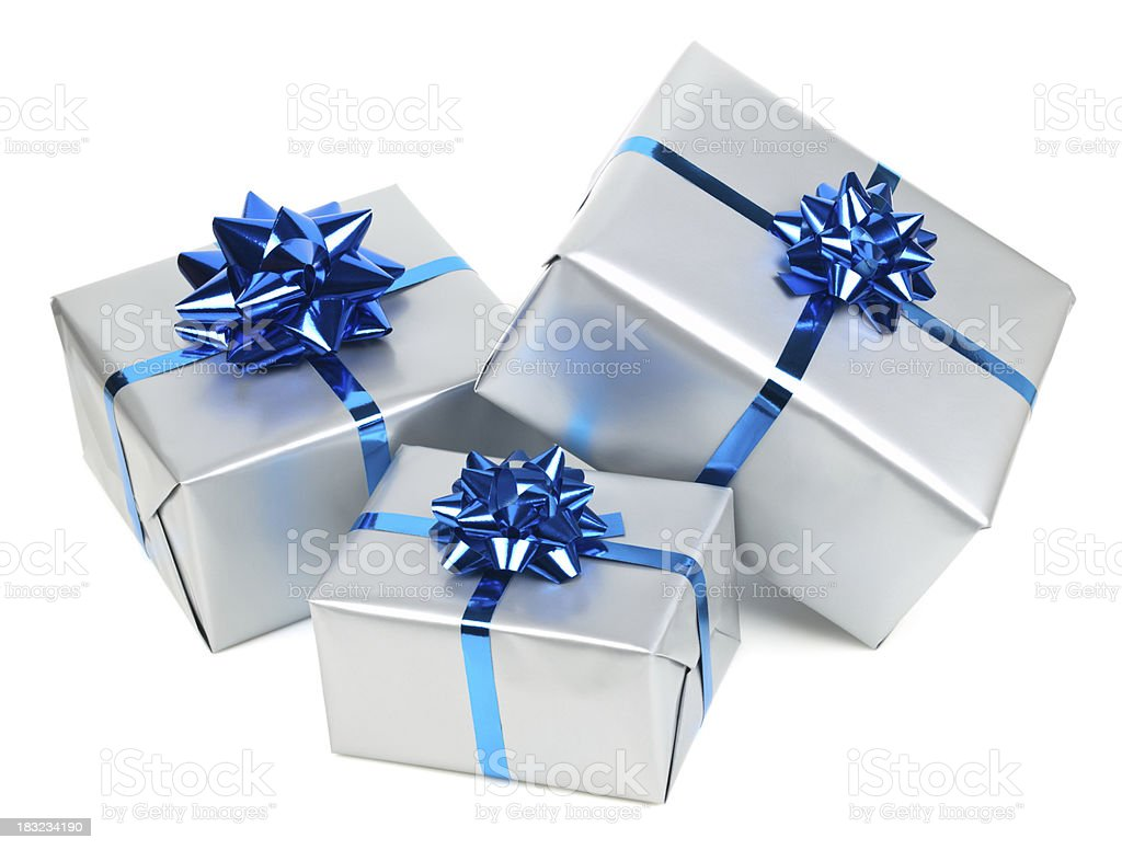 Silver gift boxes with blue bows stock photo