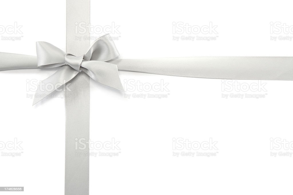 Silver Gift Ribbon & Bow stock photo