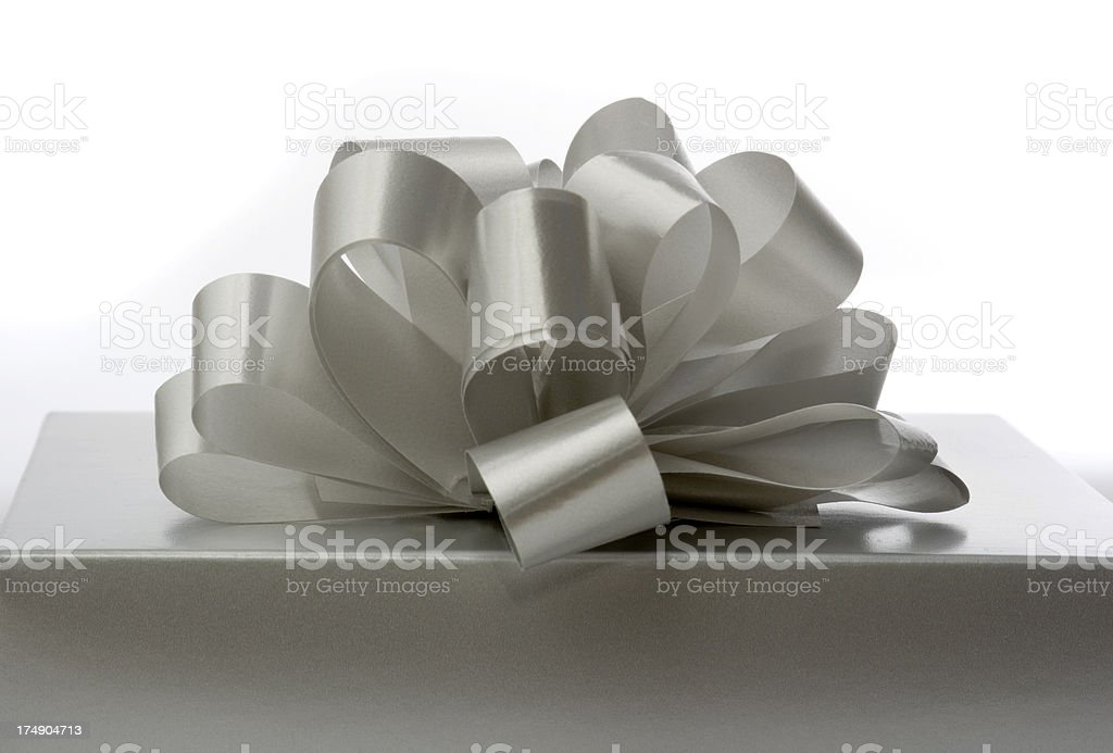 Silver Gift Side View royalty-free stock photo