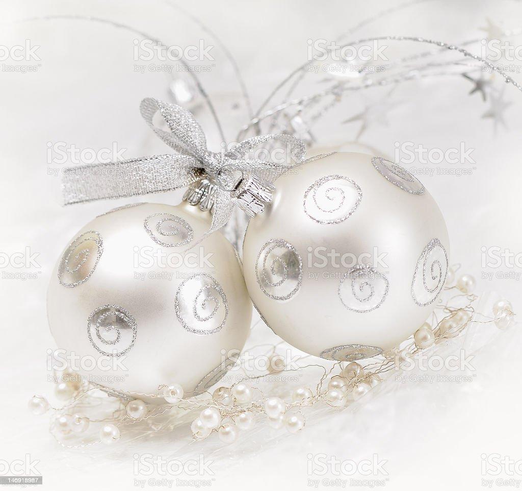 Silver Boże Narodzenie kulki szklane zbiór zdjęć royalty-free