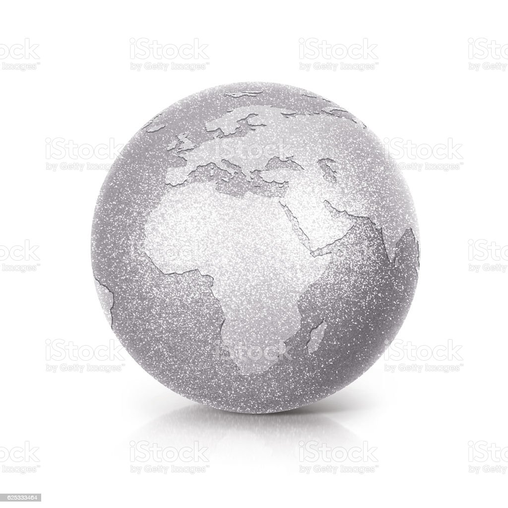 Silver Glitter globe 3D illustration europe and africa map stock photo