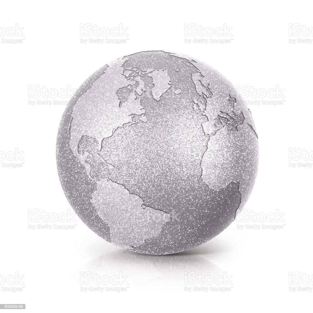 Silver Glitter globe 3D illustration North and South America map stock photo