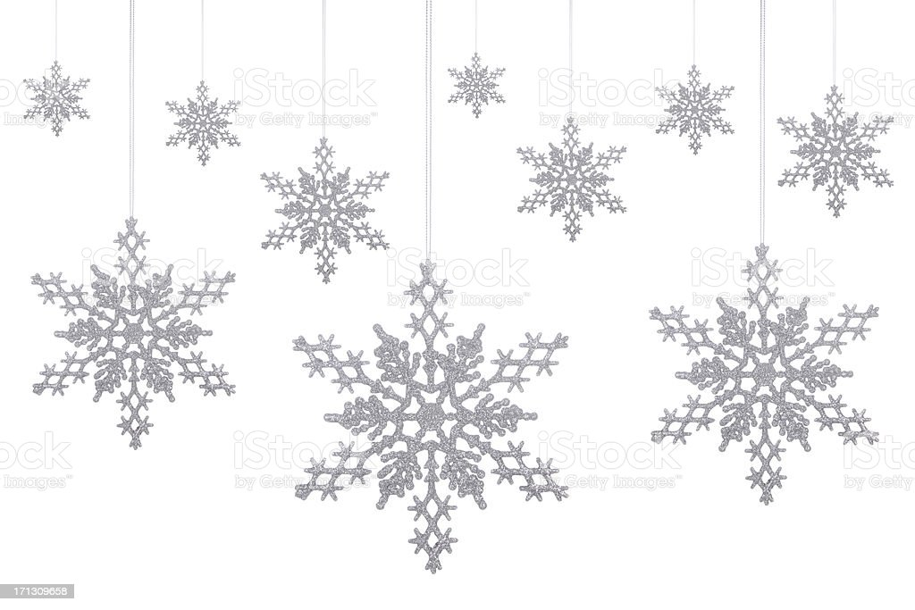 Silver Glitter Snowflakes! stock photo
