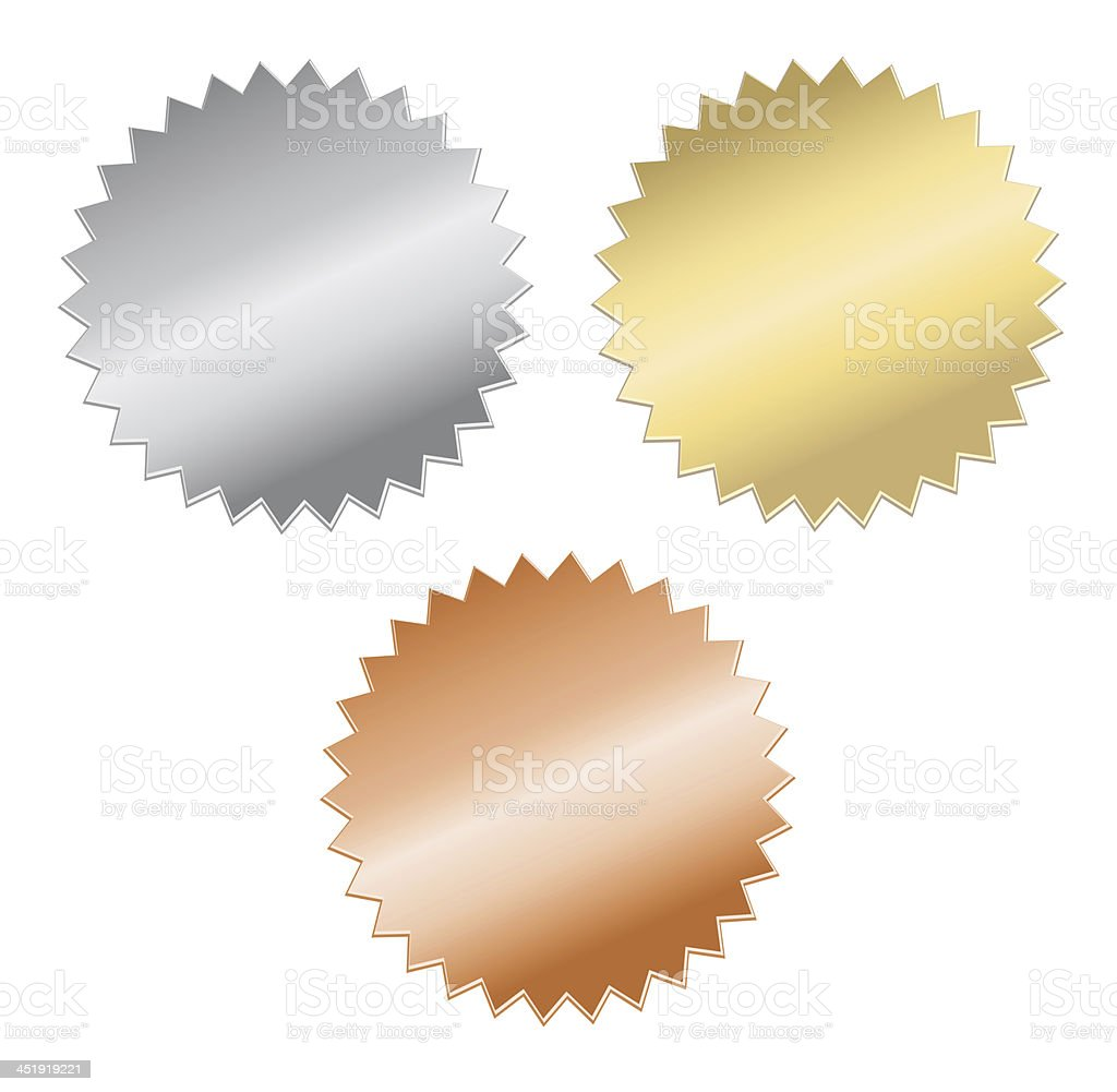 Silver, gold, and bronze medals on a white background stock photo