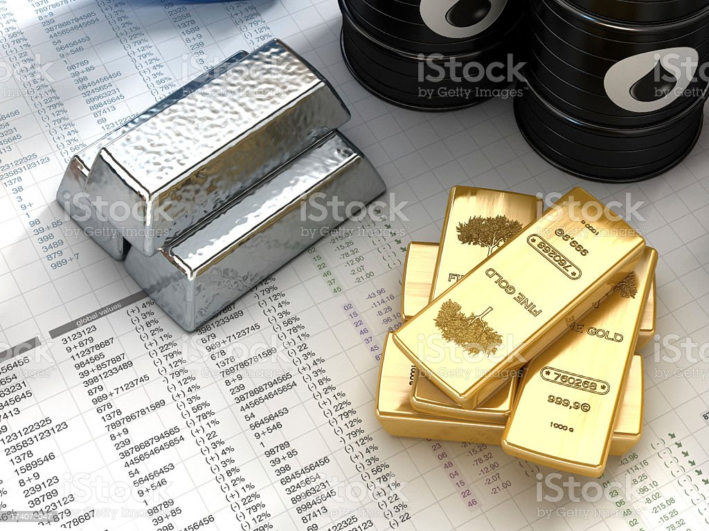 Silver, gold and oil stock photo