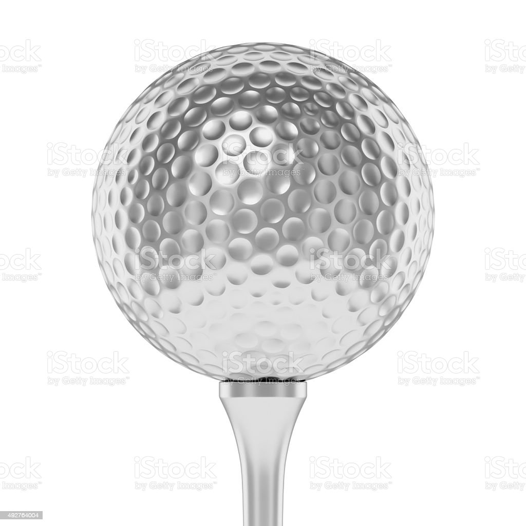 Silver golf ball on tee closeup isolated on white stock photo