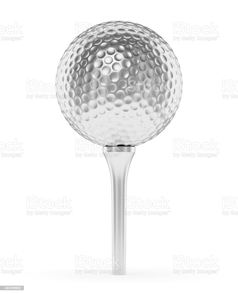 Silver golf ball on the tee isolated on white stock photo