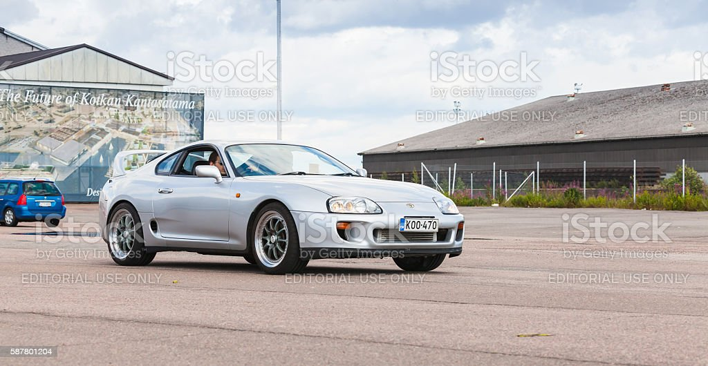 Silver gray Toyota Supra A80 stock photo