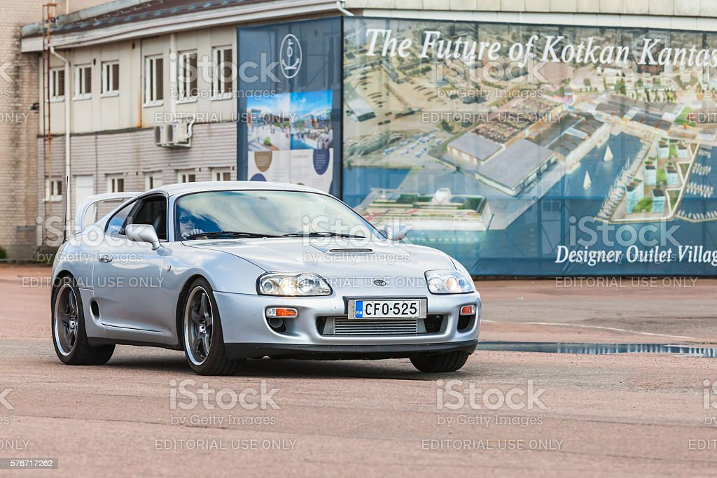 Silver gray Toyota Supra stock photo