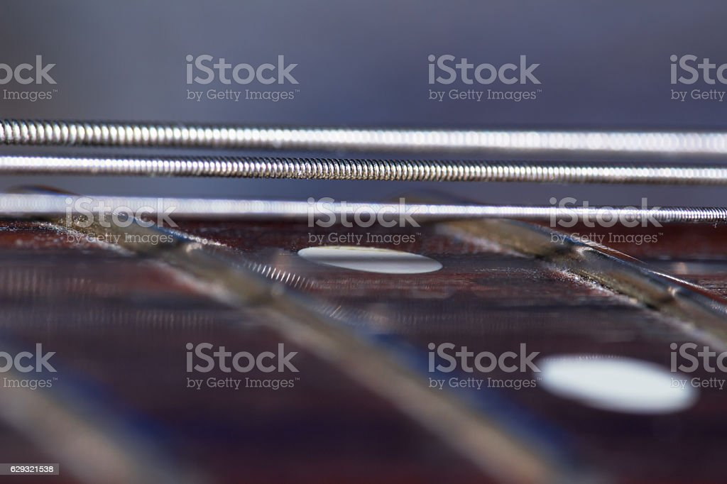 silver guitar strings stock photo