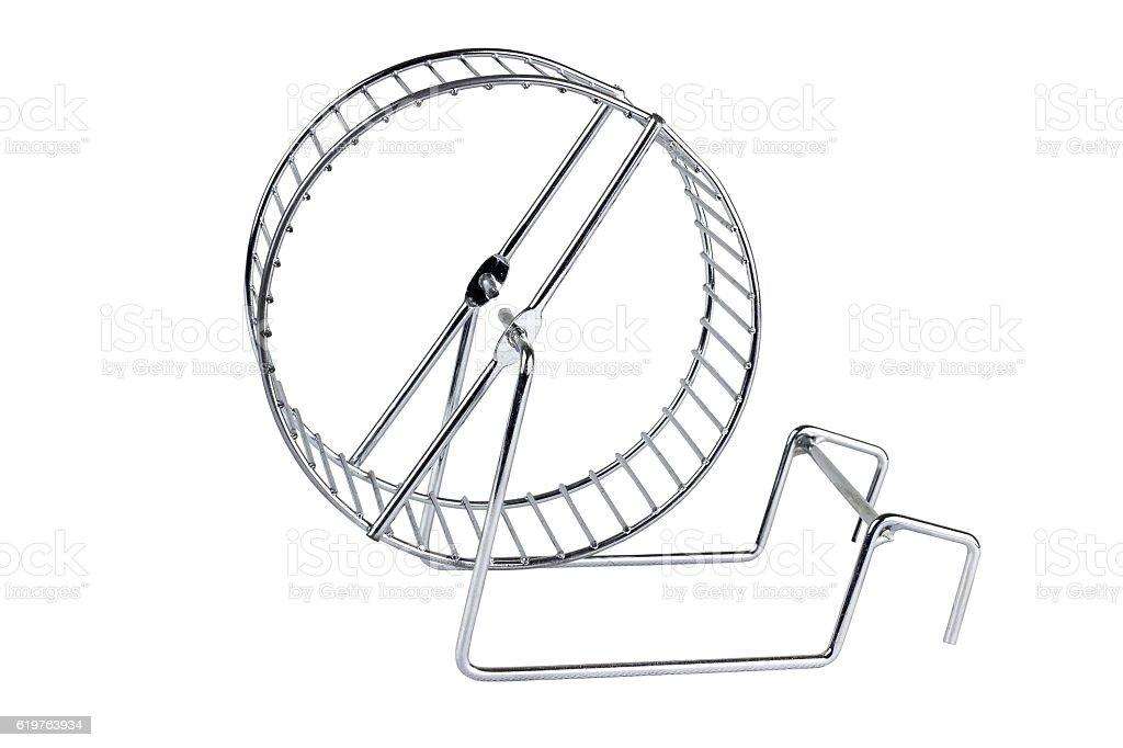Silver hamster wheel on white background stock photo