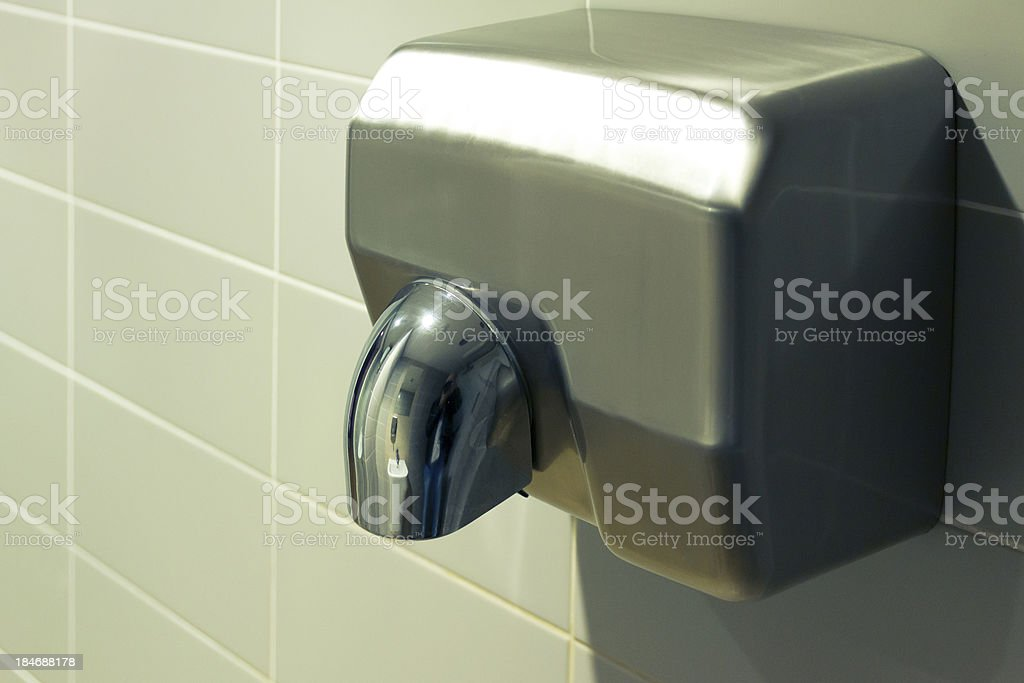 Silver hand dryer stock photo