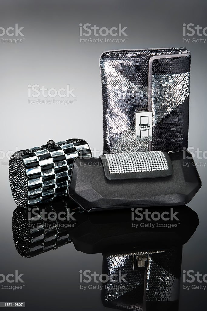 silver handbags royalty-free stock photo
