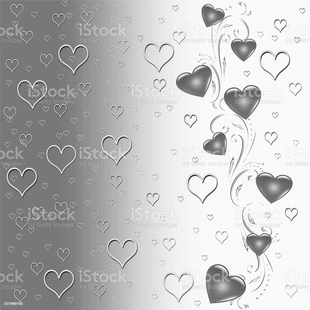 Silver heart shapes background stock photo