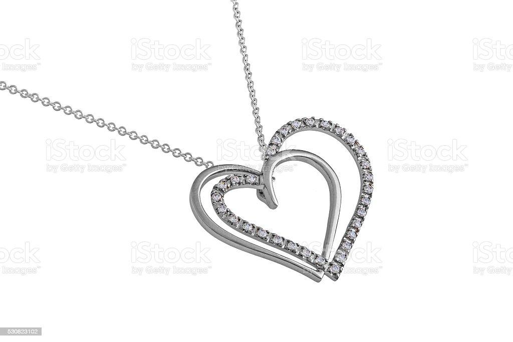 Silver hearts pendant, necklace stock photo