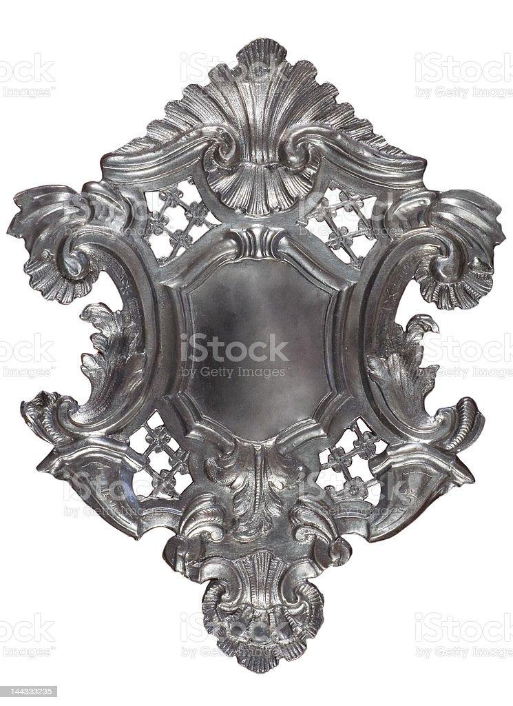 Silver heraldic shield royalty-free stock photo