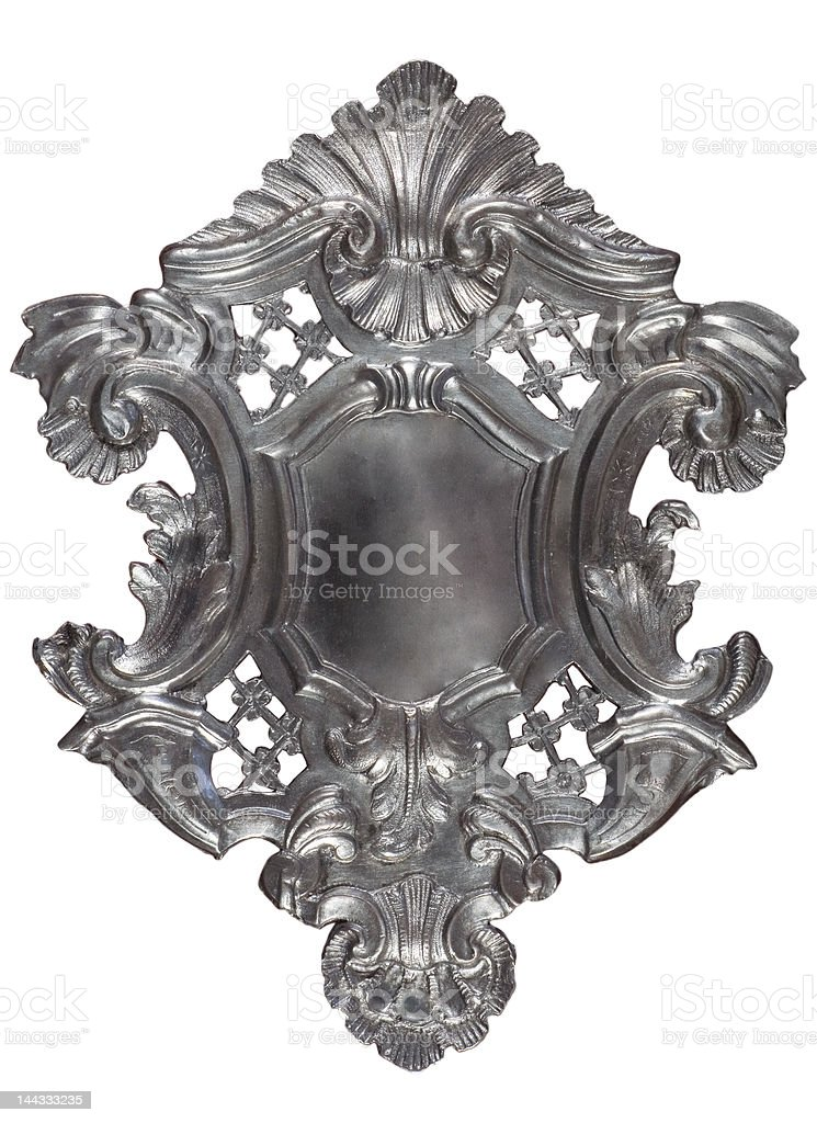 Silver heraldic shield stock photo