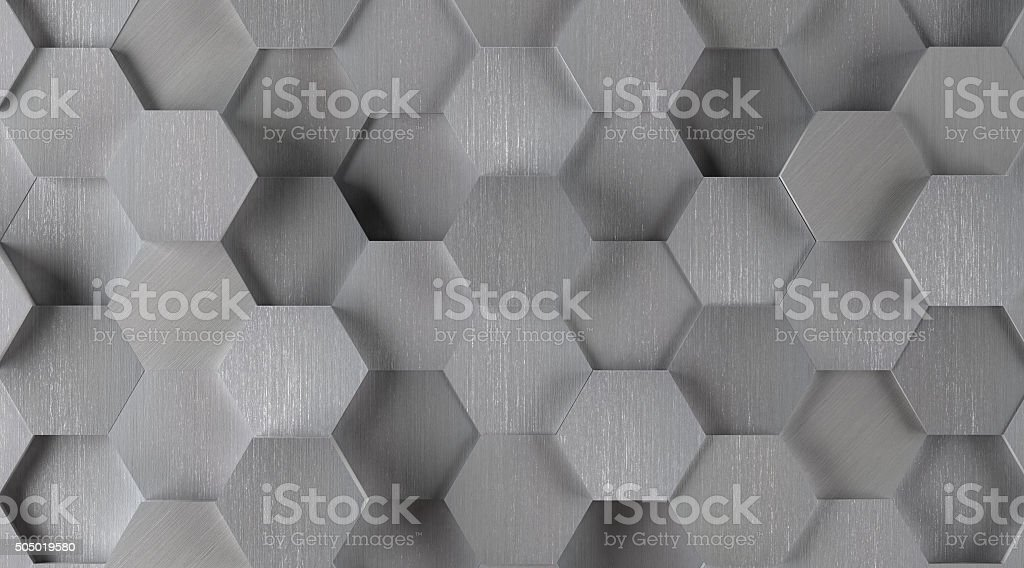Silver Hexagonal Tile Background (Lights On) stock photo