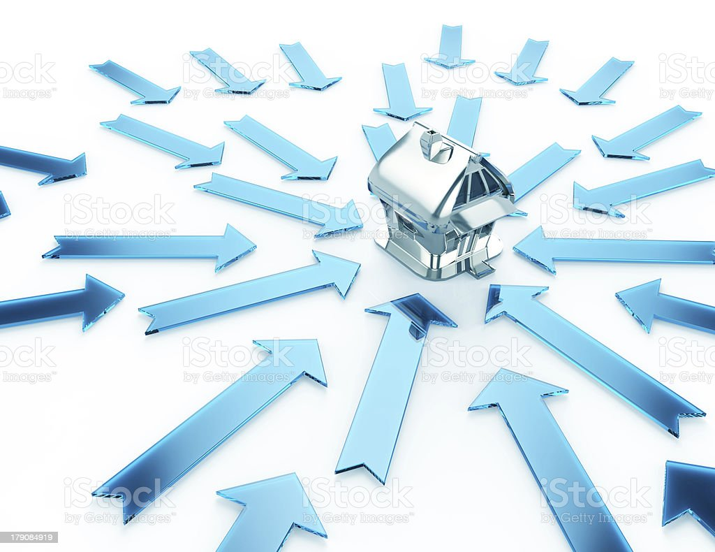 Silver Home and blue Glass Arrows-isolated on white stock photo