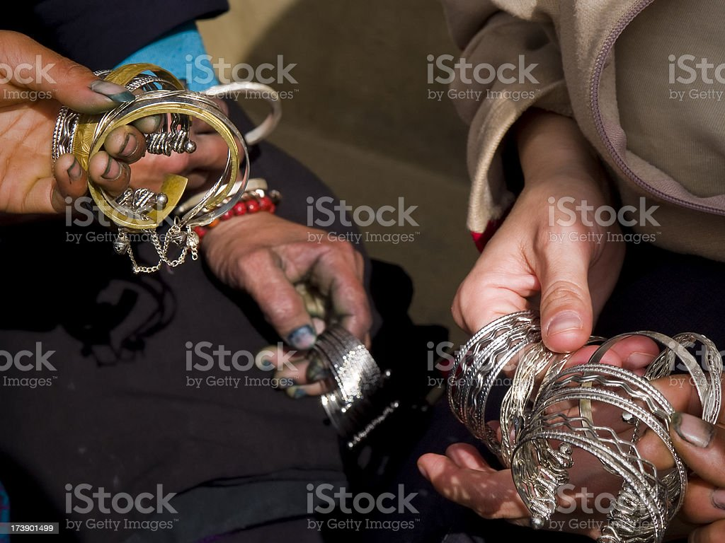 Silver in hands stock photo
