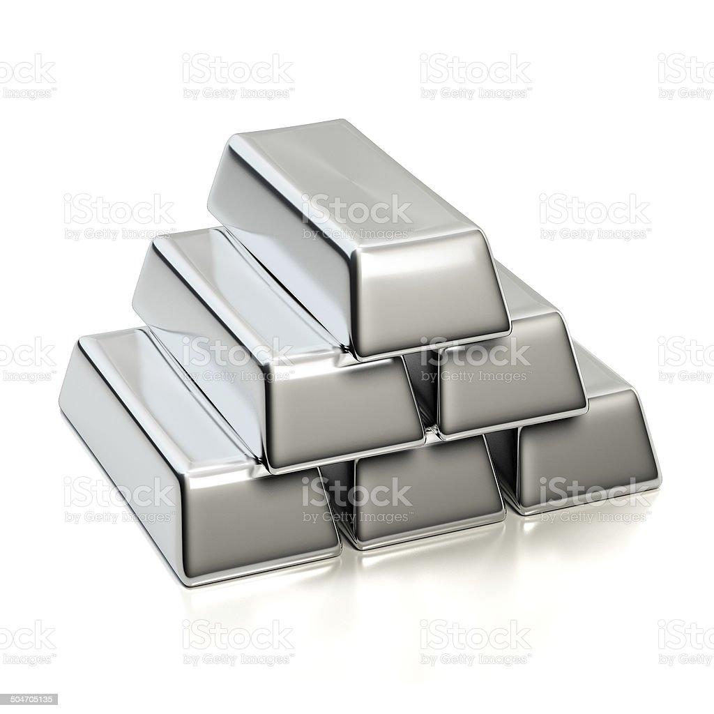 Silver ingots stock photo