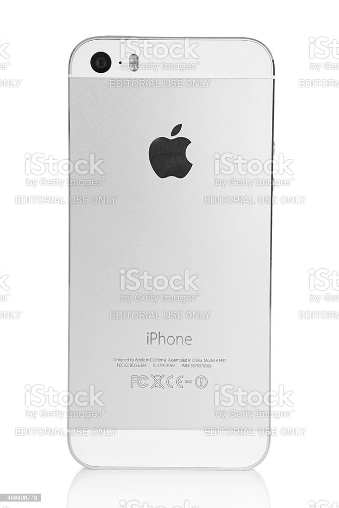 Silver iPhone 5s Back royalty-free stock photo