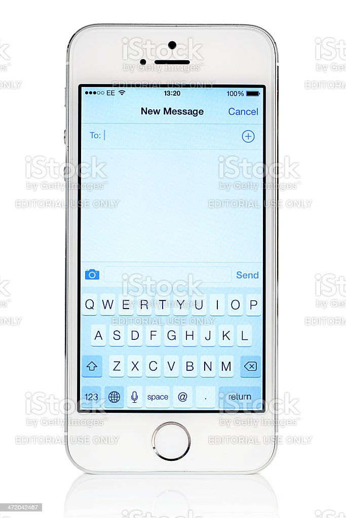Silver iPhone 5s with iOS7 New Message stock photo