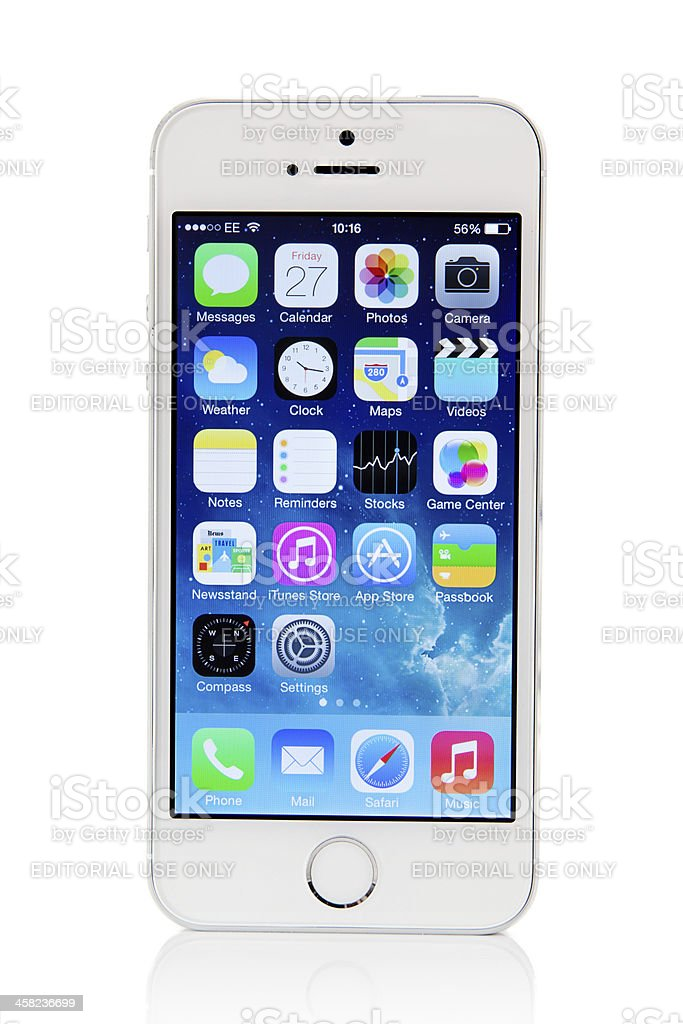 Silver iPhone 5s with iOS7 stock photo