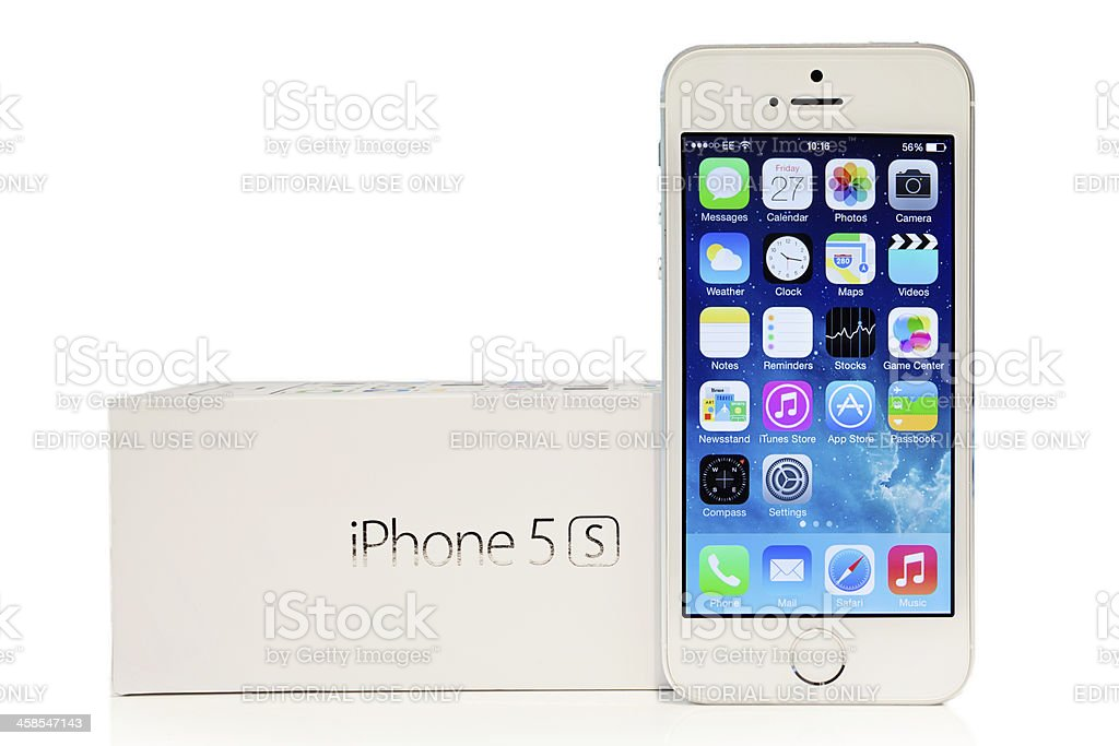 Silver iPhone 5s with iOS7 royalty-free stock photo