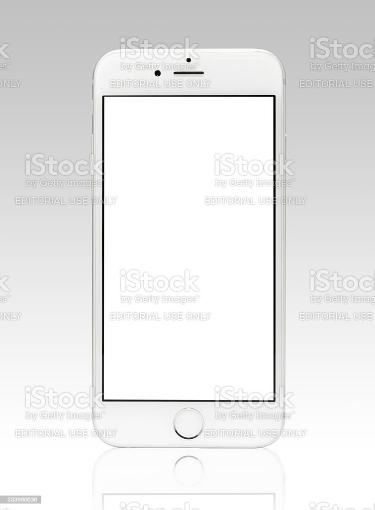 Silver iPhone 6 Isolated on White with Blank Screen stock photo