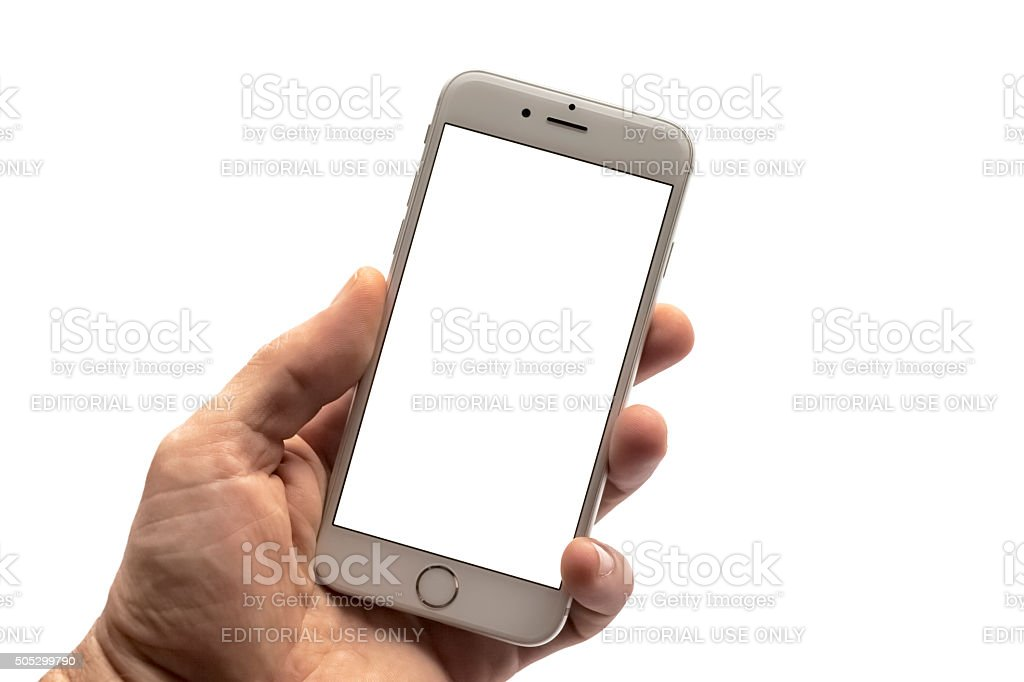 Silver iPhone 6s Isolated on Blank White Screen stock photo