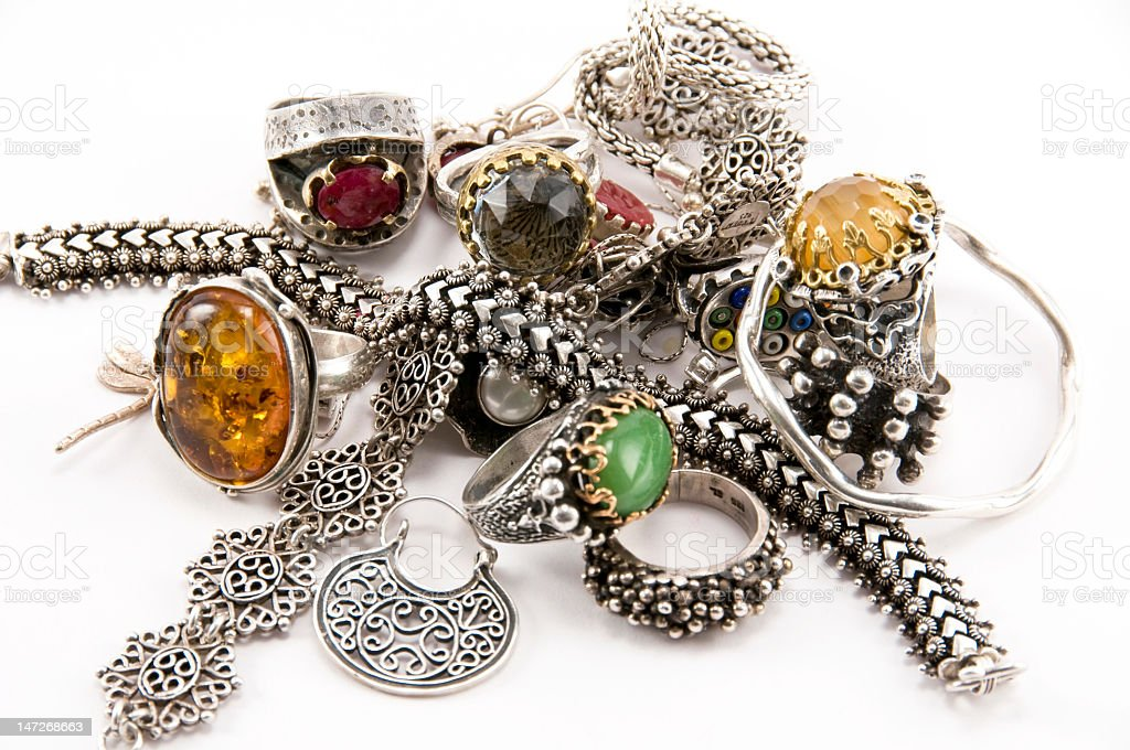 Silver jeweleries stock photo